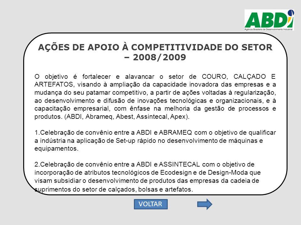 AÇÕES DE APOIO À COMPETITIVIDADE DO SETOR – 2008/2009 O objetivo é fortalecer e alavancar o setor de COURO, CALÇADO E ARTEFATOS, visando à ampliação d