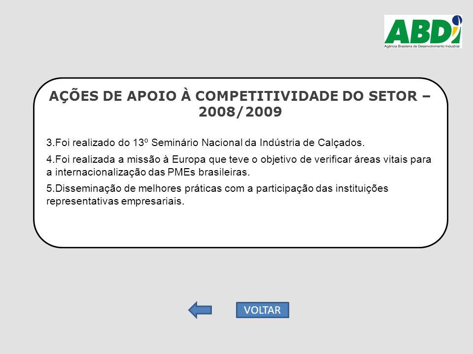 AÇÕES DE APOIO À COMPETITIVIDADE DO SETOR – 2008/2009 3.Foi realizado do 13º Seminário Nacional da Indústria de Calçados. 4.Foi realizada a missão à E