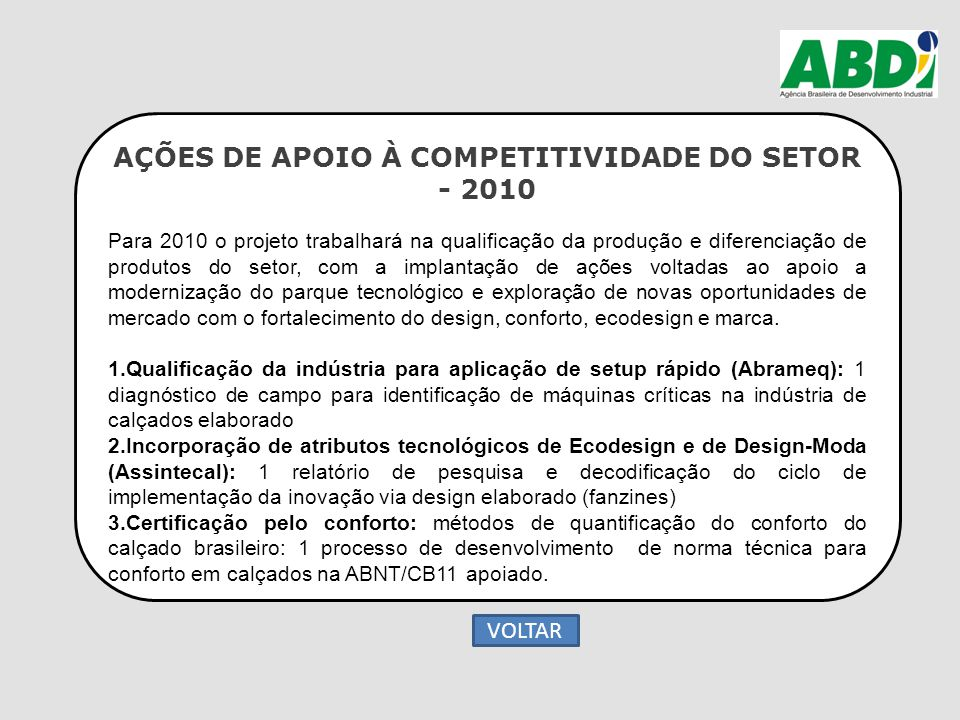 AÇÕES DE APOIO À COMPETITIVIDADE DO SETOR - 2010 Para 2010 o projeto trabalhará na qualificação da produção e diferenciação de produtos do setor, com