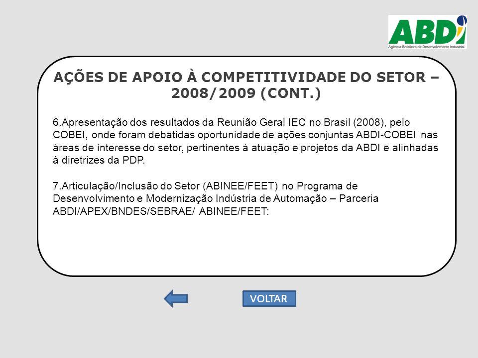 AÇÕES DE APOIO À COMPETITIVIDADE DO SETOR – 2008/2009 (CONT.) 6.Apresentação dos resultados da Reunião Geral IEC no Brasil (2008), pelo COBEI, onde fo