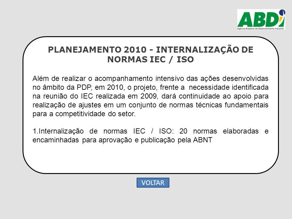 PLANEJAMENTO 2010 - INTERNALIZAÇÃO DE NORMAS IEC / ISO Além de realizar o acompanhamento intensivo das ações desenvolvidas no âmbito da PDP, em 2010,