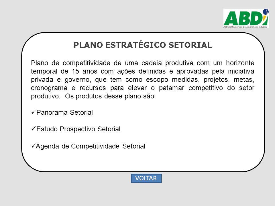 PLANO ESTRATÉGICO SETORIAL Plano de competitividade de uma cadeia produtiva com um horizonte temporal de 15 anos com ações definidas e aprovadas pela