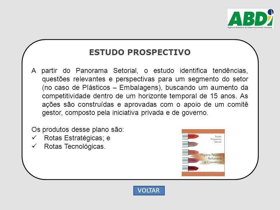 ESTUDO PROSPECTIVO A partir do Panorama Setorial, o estudo identifica tendências, questões relevantes e perspectivas para um segmento do setor (no cas