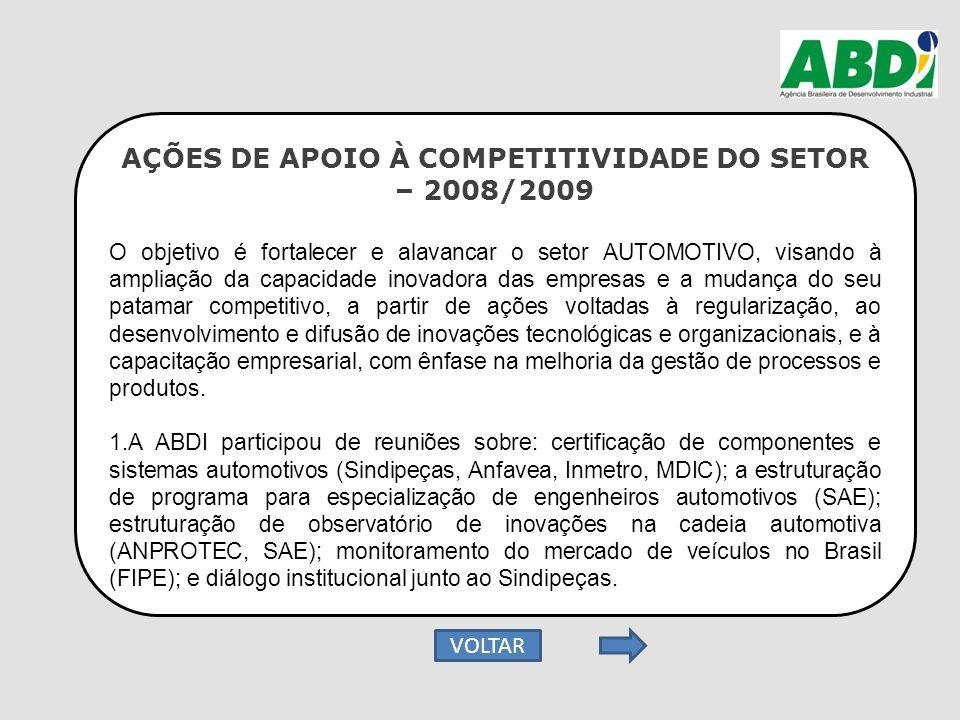 AÇÕES DE APOIO À COMPETITIVIDADE DO SETOR – 2008/2009 O objetivo é fortalecer e alavancar o setor AUTOMOTIVO, visando à ampliação da capacidade inovad