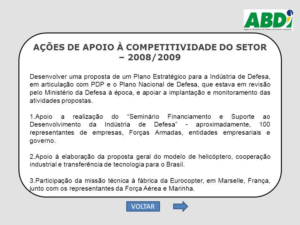 AÇÕES DE APOIO À COMPETITIVIDADE DO SETOR – 2008/2009 Desenvolver uma proposta de um Plano Estratégico para a Indústria de Defesa, em articulação com