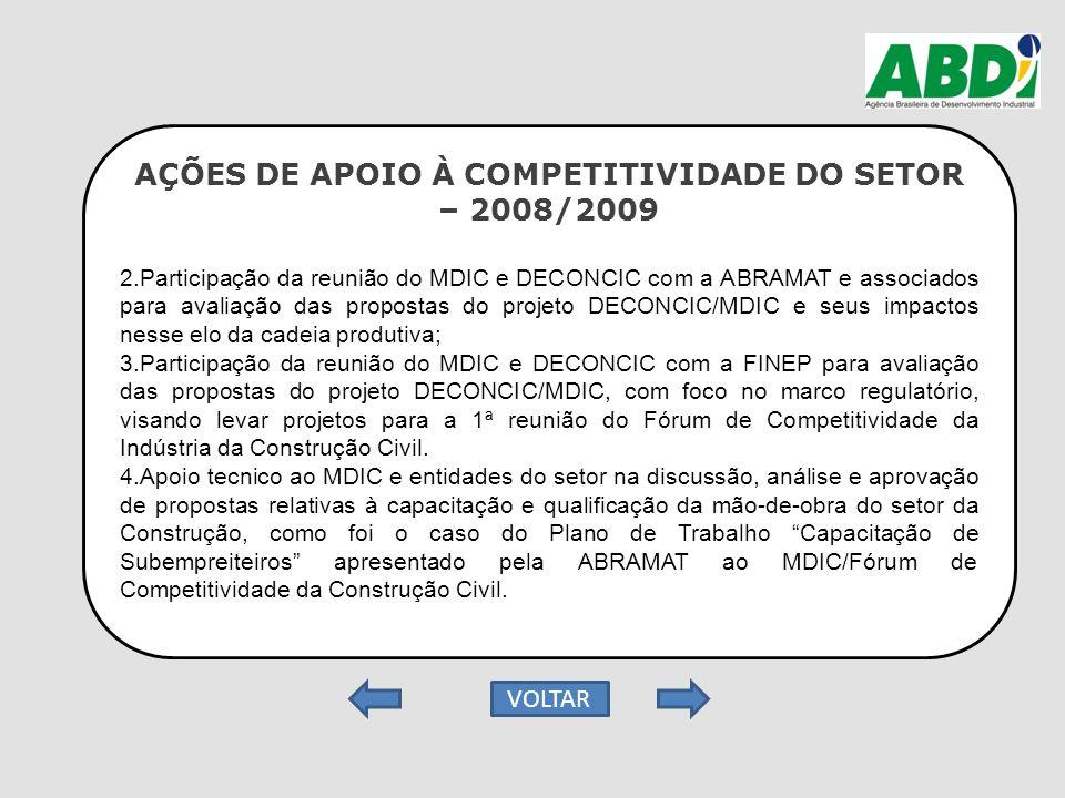 AÇÕES DE APOIO À COMPETITIVIDADE DO SETOR – 2008/2009 2.Participação da reunião do MDIC e DECONCIC com a ABRAMAT e associados para avaliação das propo