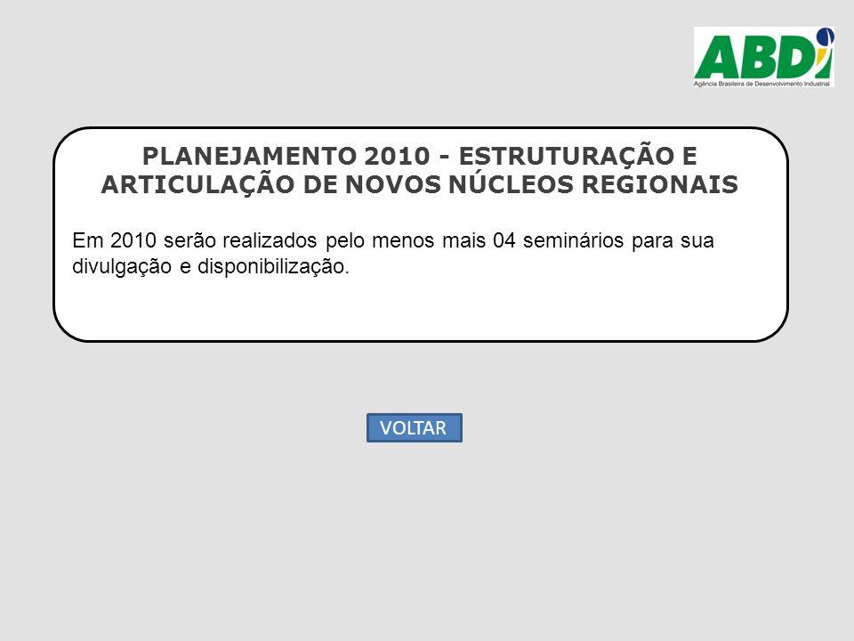 PLANEJAMENTO 2010 - ESTRUTURAÇÃO E ARTICULAÇÃO DE NOVOS NÚCLEOS REGIONAIS Em 2010 serão realizados pelo menos mais 04 seminários para sua divulgação e