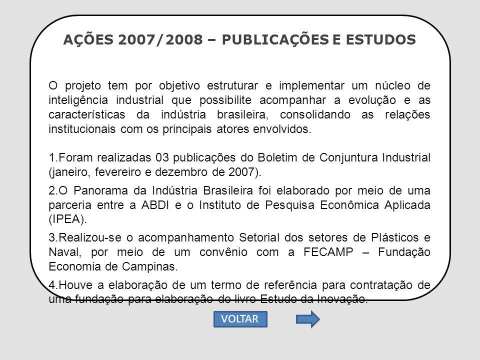 AÇÕES 2007/2008 – PUBLICAÇÕES E ESTUDOS O projeto tem por objetivo estruturar e implementar um núcleo de inteligência industrial que possibilite acomp