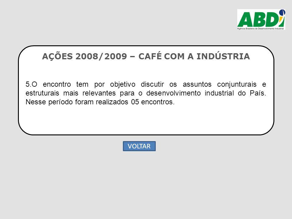 AÇÕES 2008/2009 – CAFÉ COM A INDÚSTRIA 5.O encontro tem por objetivo discutir os assuntos conjunturais e estruturais mais relevantes para o desenvolvi