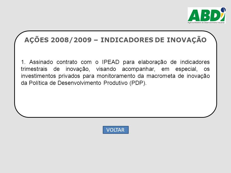 AÇÕES 2008/2009 – INDICADORES DE INOVAÇÃO 1. Assinado contrato com o IPEAD para elaboração de indicadores trimestrais de inovação, visando acompanhar,