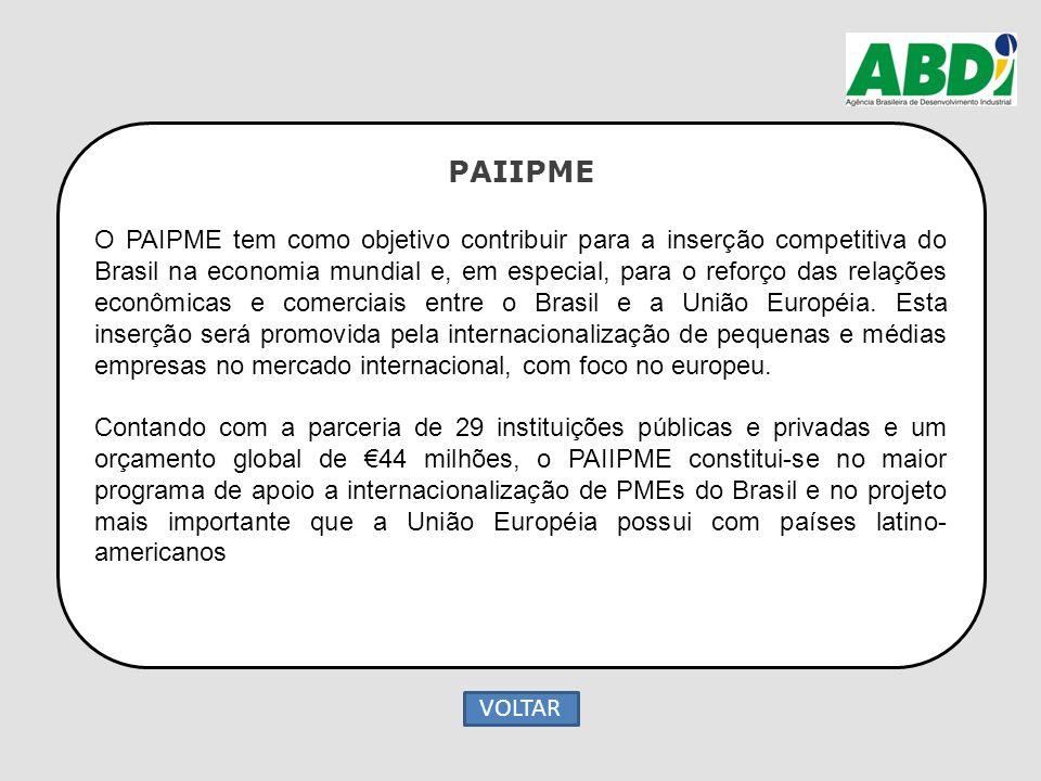 PAIIPME O PAIPME tem como objetivo contribuir para a inserção competitiva do Brasil na economia mundial e, em especial, para o reforço das relações ec