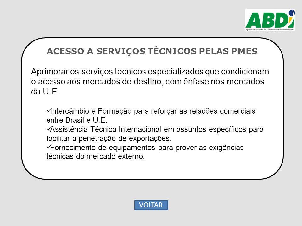 ACESSO A SERVIÇOS TÉCNICOS PELAS PMES Aprimorar os serviços técnicos especializados que condicionam o acesso aos mercados de destino, com ênfase nos m