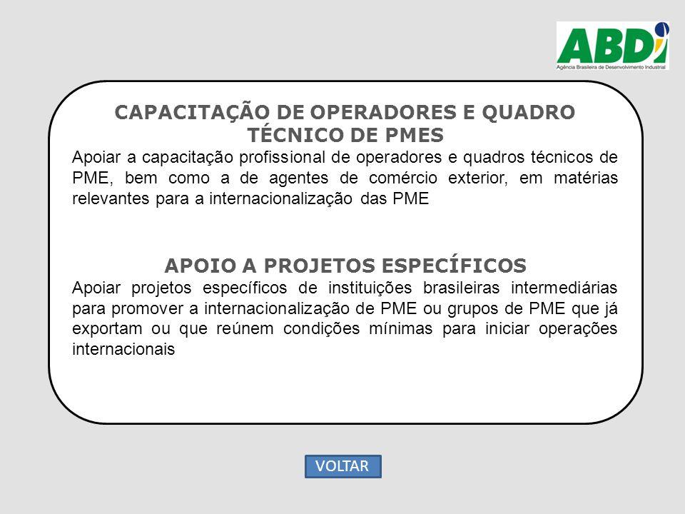 CAPACITAÇÃO DE OPERADORES E QUADRO TÉCNICO DE PMES Apoiar a capacitação profissional de operadores e quadros técnicos de PME, bem como a de agentes de