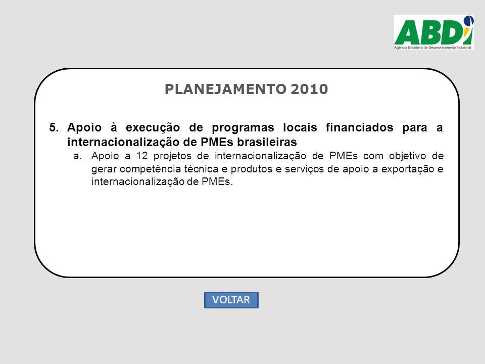 PLANEJAMENTO 2010 5.Apoio à execução de programas locais financiados para a internacionalização de PMEs brasileiras a.Apoio a 12 projetos de internaci