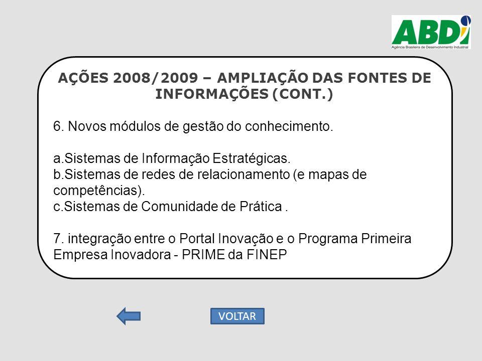 AÇÕES 2008/2009 – AMPLIAÇÃO DAS FONTES DE INFORMAÇÕES (CONT.) 6. Novos módulos de gestão do conhecimento. a.Sistemas de Informação Estratégicas. b.Sis