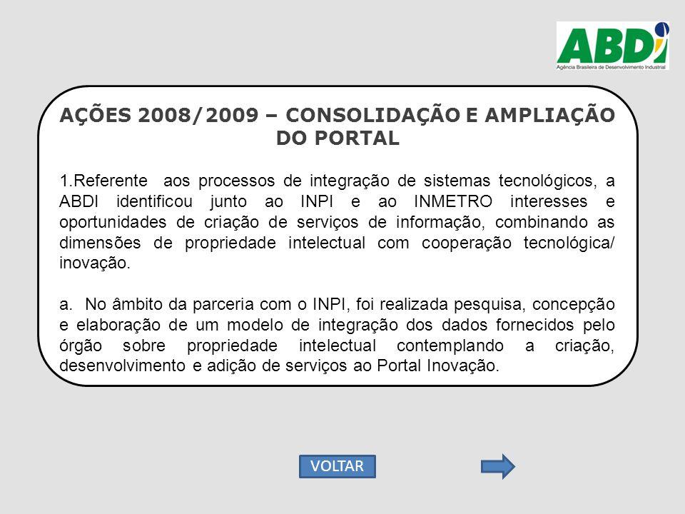 AÇÕES 2008/2009 – CONSOLIDAÇÃO E AMPLIAÇÃO DO PORTAL 1.Referente aos processos de integração de sistemas tecnológicos, a ABDI identificou junto ao INP