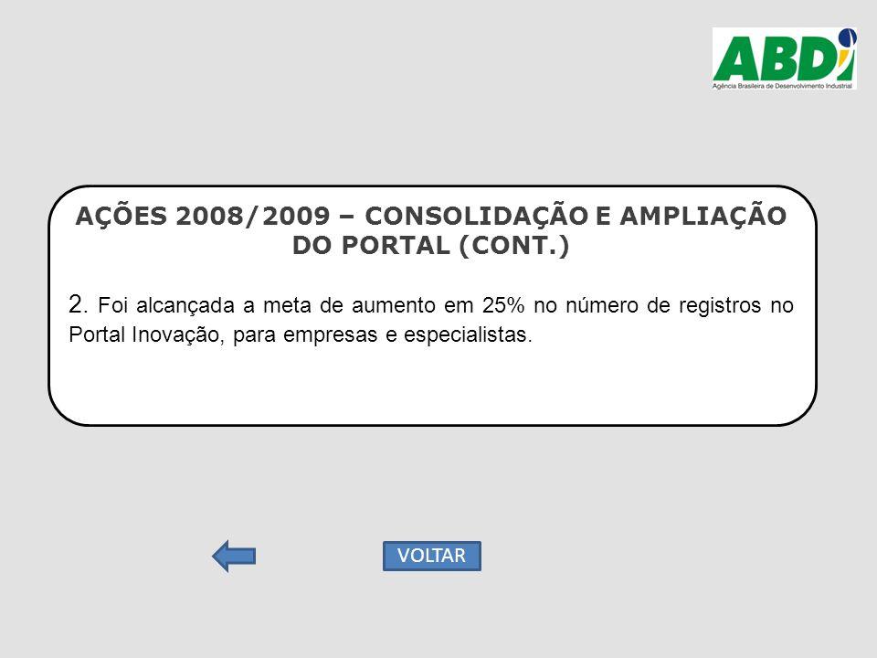AÇÕES 2008/2009 – CONSOLIDAÇÃO E AMPLIAÇÃO DO PORTAL (CONT.) 2. Foi alcançada a meta de aumento em 25% no número de registros no Portal Inovação, para