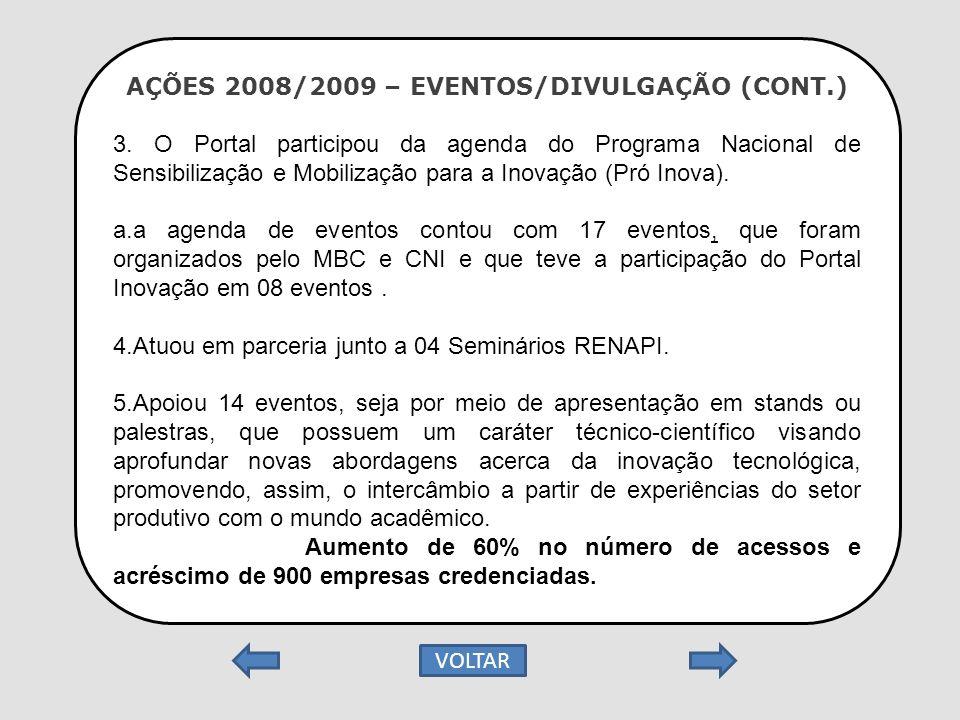 AÇÕES 2008/2009 – EVENTOS/DIVULGAÇÃO (CONT.) 3. O Portal participou da agenda do Programa Nacional de Sensibilização e Mobilização para a Inovação (Pr