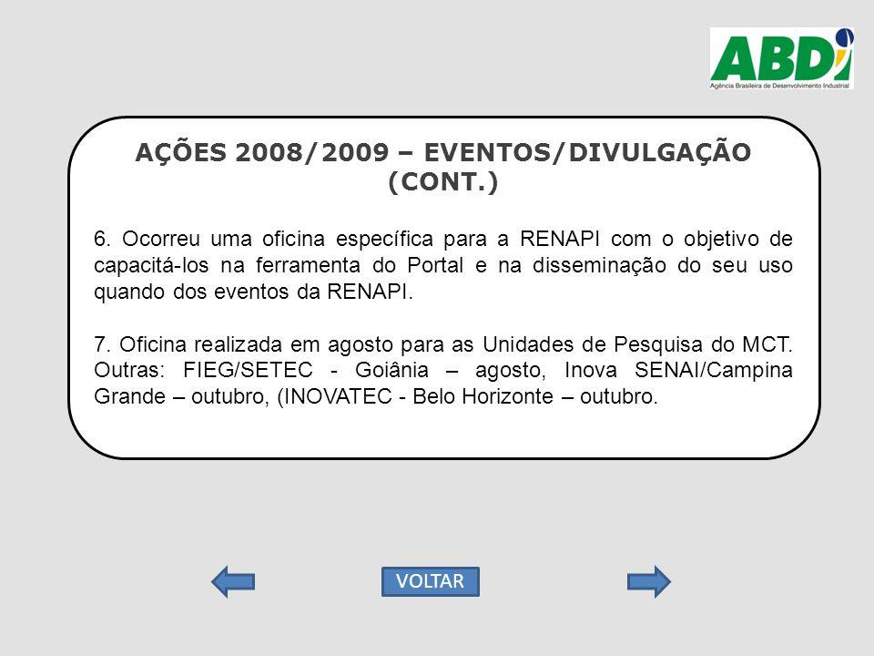AÇÕES 2008/2009 – EVENTOS/DIVULGAÇÃO (CONT.) 6. Ocorreu uma oficina específica para a RENAPI com o objetivo de capacitá-los na ferramenta do Portal e