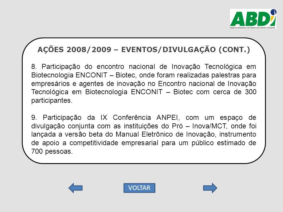 AÇÕES 2008/2009 – EVENTOS/DIVULGAÇÃO (CONT.) 8. Participação do encontro nacional de Inovação Tecnológica em Biotecnologia ENCONIT – Biotec, onde fora