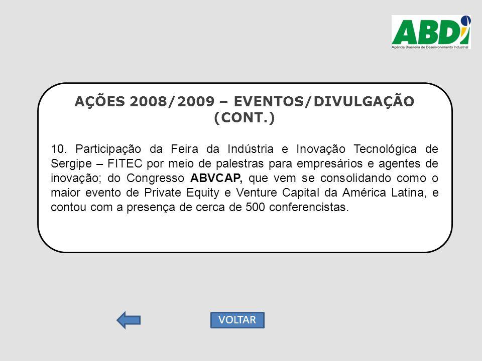 AÇÕES 2008/2009 – EVENTOS/DIVULGAÇÃO (CONT.) 10. Participação da Feira da Indústria e Inovação Tecnológica de Sergipe – FITEC por meio de palestras pa