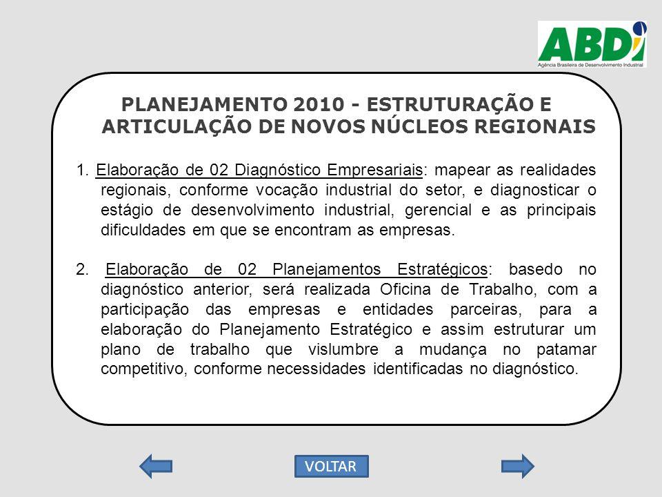 PLANEJAMENTO 2010 - ESTRUTURAÇÃO E ARTICULAÇÃO DE NOVOS NÚCLEOS REGIONAIS 1. Elaboração de 02 Diagnóstico Empresariais: mapear as realidades regionais