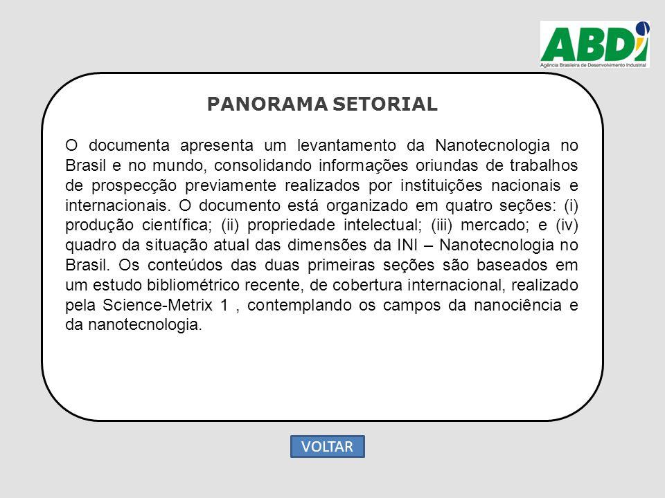 PANORAMA SETORIAL O documenta apresenta um levantamento da Nanotecnologia no Brasil e no mundo, consolidando informações oriundas de trabalhos de pros