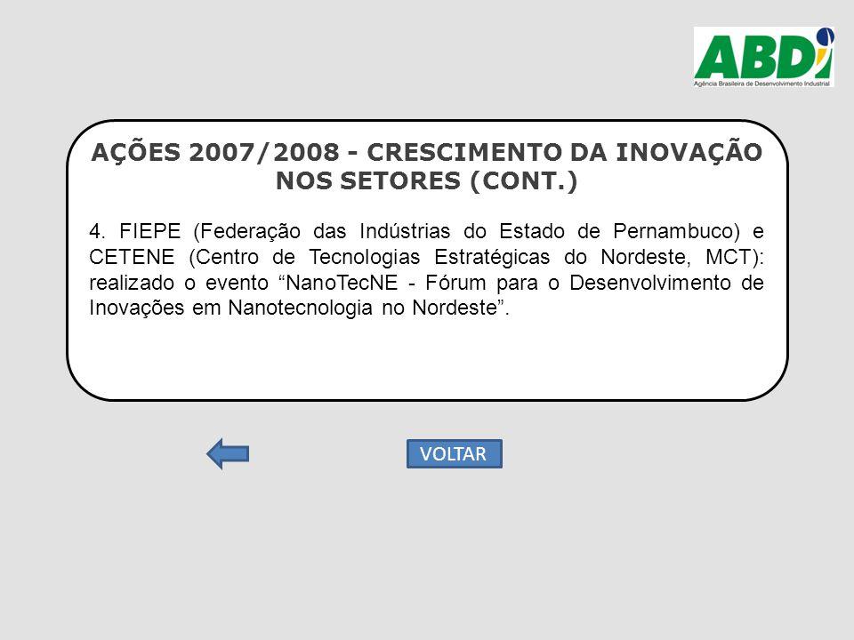 AÇÕES 2007/2008 - CRESCIMENTO DA INOVAÇÃO NOS SETORES (CONT.) 4. FIEPE (Federação das Indústrias do Estado de Pernambuco) e CETENE (Centro de Tecnolog
