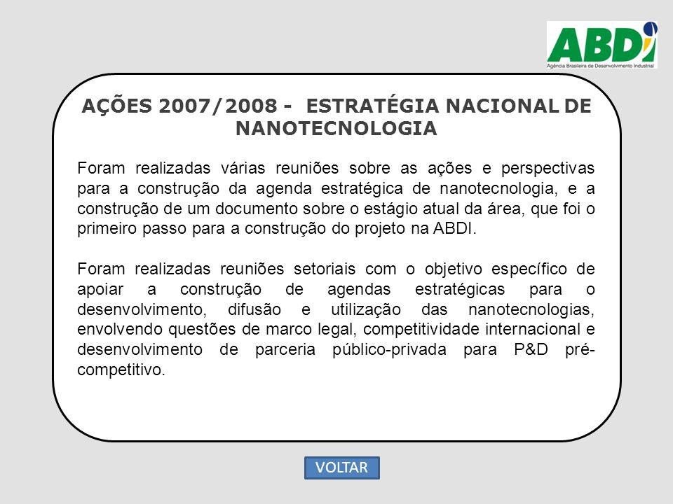 AÇÕES 2007/2008 - ESTRATÉGIA NACIONAL DE NANOTECNOLOGIA Foram realizadas várias reuniões sobre as ações e perspectivas para a construção da agenda est
