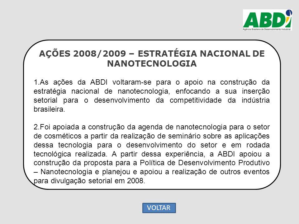 AÇÕES 2008/2009 – ESTRATÉGIA NACIONAL DE NANOTECNOLOGIA 1.As ações da ABDI voltaram-se para o apoio na construção da estratégia nacional de nanotecnol