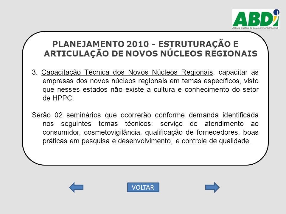 PLANEJAMENTO 2010 - ESTRUTURAÇÃO E ARTICULAÇÃO DE NOVOS NÚCLEOS REGIONAIS 3. Capacitação Técnica dos Novos Núcleos Regionais: capacitar as empresas do