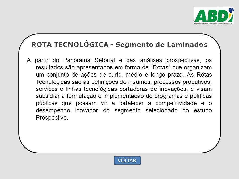 """ROTA TECNOLÓGICA - Segmento de Laminados A partir do Panorama Setorial e das análises prospectivas, os resultados são apresentados em forma de """"Rotas"""""""