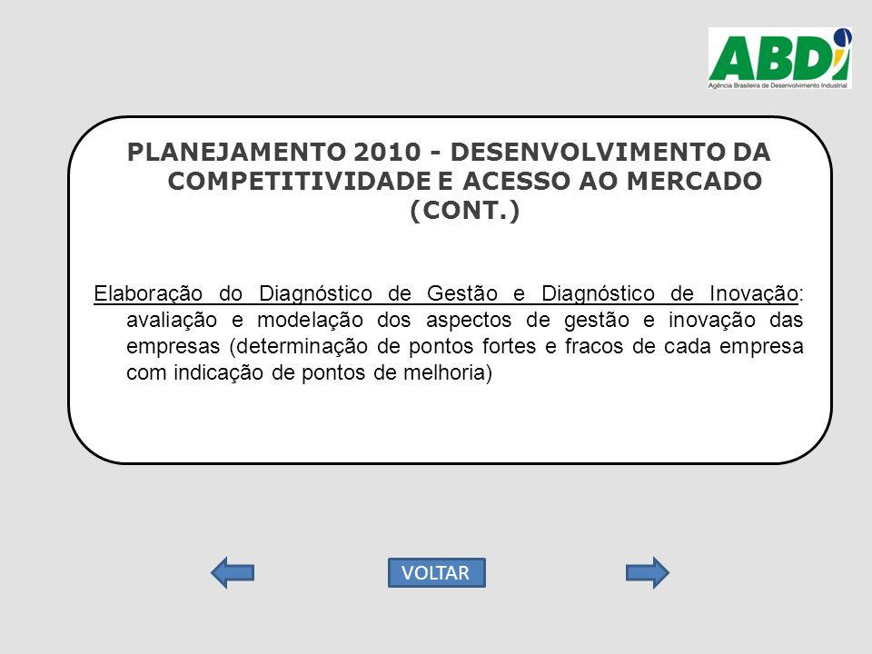PLANEJAMENTO 2010 - DESENVOLVIMENTO DA COMPETITIVIDADE E ACESSO AO MERCADO (CONT.) Elaboração do Diagnóstico de Gestão e Diagnóstico de Inovação: aval