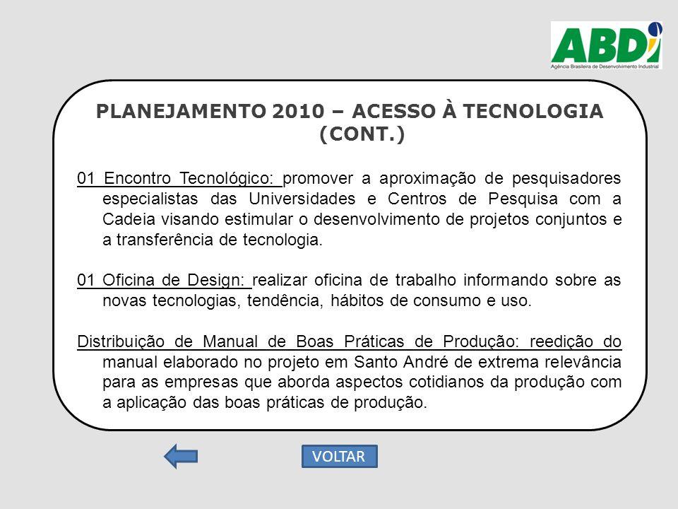 PLANEJAMENTO 2010 – ACESSO À TECNOLOGIA (CONT.) 01 Encontro Tecnológico: promover a aproximação de pesquisadores especialistas das Universidades e Cen