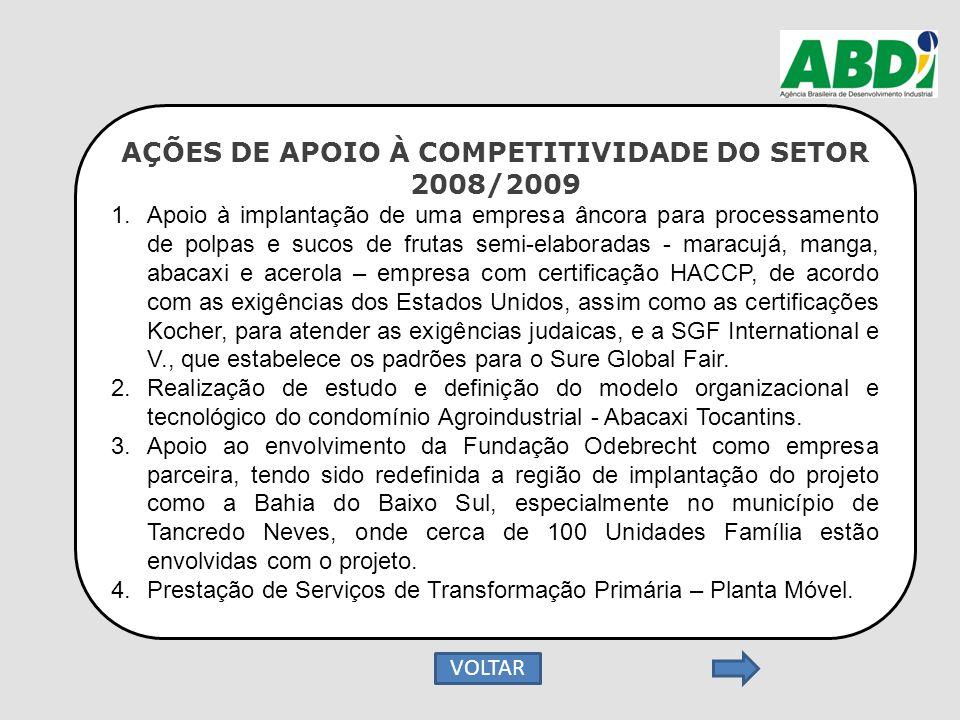 AÇÕES DE APOIO À COMPETITIVIDADE DO SETOR 2008/2009 1.Apoio à implantação de uma empresa âncora para processamento de polpas e sucos de frutas semi-el