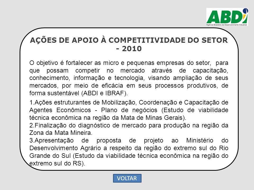 AÇÕES DE APOIO À COMPETITIVIDADE DO SETOR - 2010 O objetivo é fortalecer as micro e pequenas empresas do setor, para que possam competir no mercado at