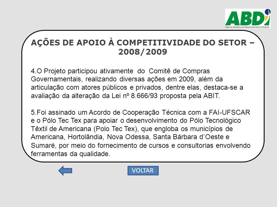 AÇÕES DE APOIO À COMPETITIVIDADE DO SETOR – 2008/2009 4.O Projeto participou ativamente do Comitê de Compras Governamentais, realizando diversas ações