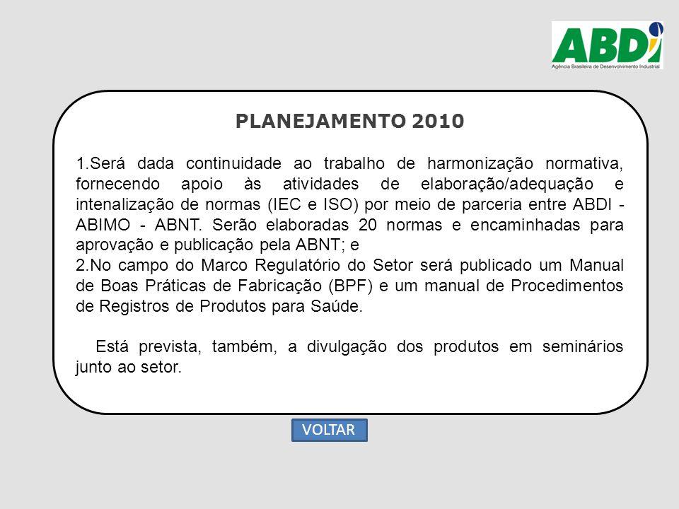 PLANEJAMENTO 2010 1.Será dada continuidade ao trabalho de harmonização normativa, fornecendo apoio às atividades de elaboração/adequação e intenalizaç