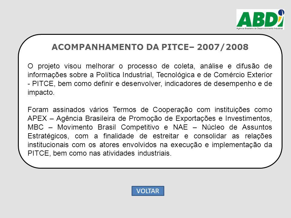ACOMPANHAMENTO DA PITCE– 2007/2008 O projeto visou melhorar o processo de coleta, análise e difusão de informações sobre a Política Industrial, Tecnol