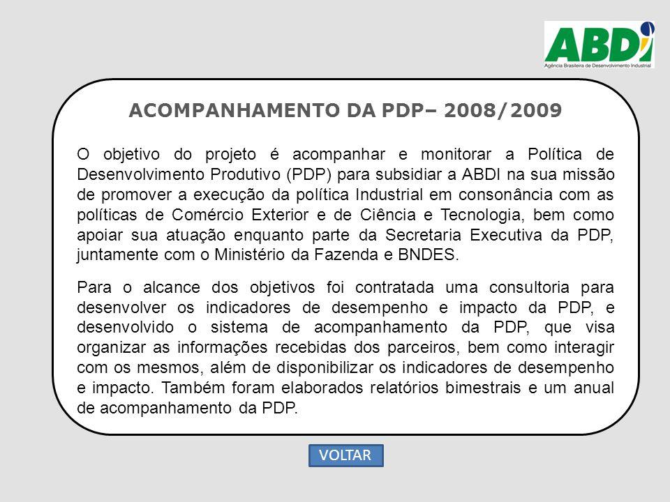 ACOMPANHAMENTO DA PDP– 2008/2009 O objetivo do projeto é acompanhar e monitorar a Política de Desenvolvimento Produtivo (PDP) para subsidiar a ABDI na