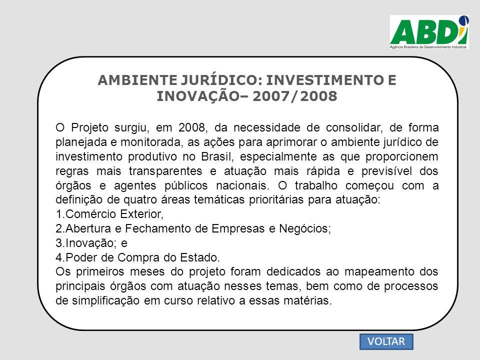 AMBIENTE JURÍDICO: INVESTIMENTO E INOVAÇÃO– 2007/2008 O Projeto surgiu, em 2008, da necessidade de consolidar, de forma planejada e monitorada, as açõ