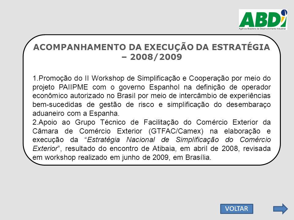 ACOMPANHAMENTO DA EXECUÇÃO DA ESTRATÉGIA – 2008/2009 1.Promoção do II Workshop de Simplificação e Cooperação por meio do projeto PAIIPME com o governo