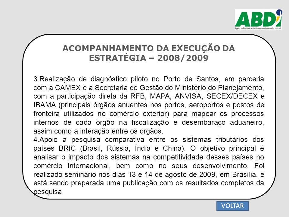 ACOMPANHAMENTO DA EXECUÇÃO DA ESTRATÉGIA – 2008/2009 3.Realização de diagnóstico piloto no Porto de Santos, em parceria com a CAMEX e a Secretaria de
