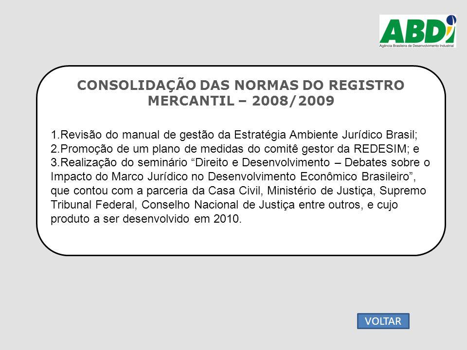 CONSOLIDAÇÃO DAS NORMAS DO REGISTRO MERCANTIL – 2008/2009 1.Revisão do manual de gestão da Estratégia Ambiente Jurídico Brasil; 2.Promoção de um plano