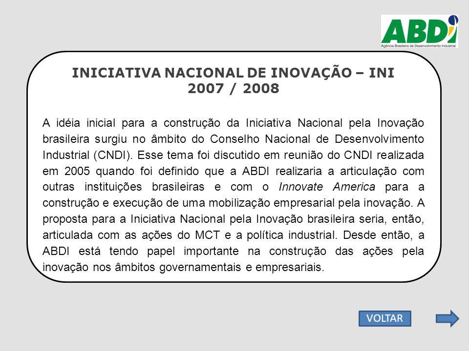 INICIATIVA NACIONAL DE INOVAÇÃO – INI 2007 / 2008 A idéia inicial para a construção da Iniciativa Nacional pela Inovação brasileira surgiu no âmbito d