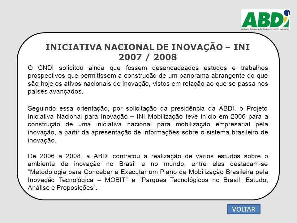 INICIATIVA NACIONAL DE INOVAÇÃO – INI 2007 / 2008 O CNDI solicitou ainda que fossem desencadeados estudos e trabalhos prospectivos que permitissem a c