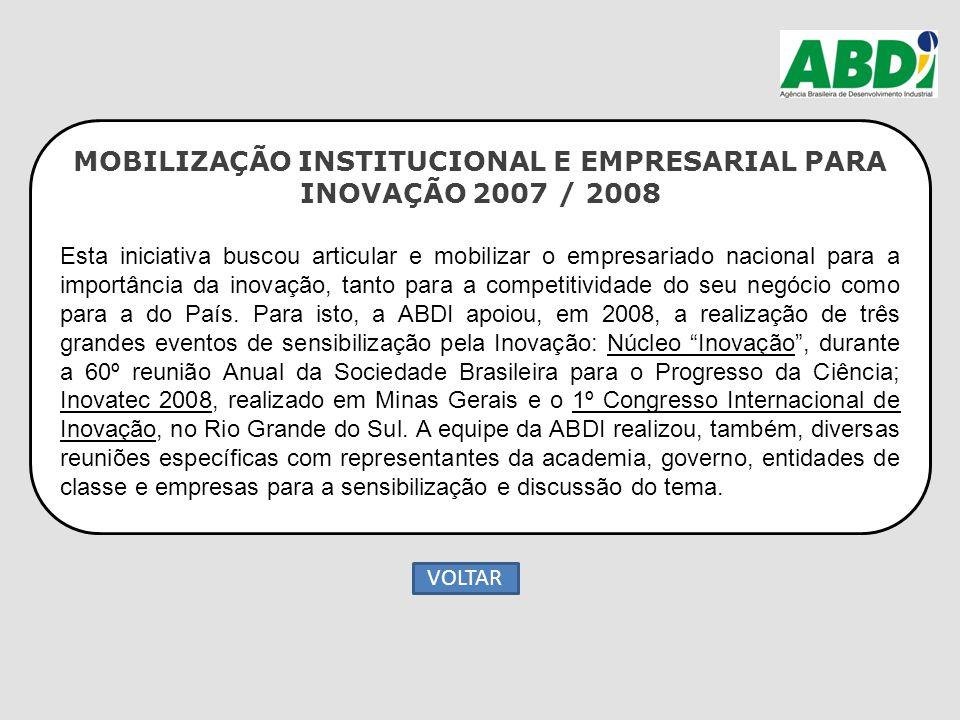 MOBILIZAÇÃO INSTITUCIONAL E EMPRESARIAL PARA INOVAÇÃO 2007 / 2008 Esta iniciativa buscou articular e mobilizar o empresariado nacional para a importân