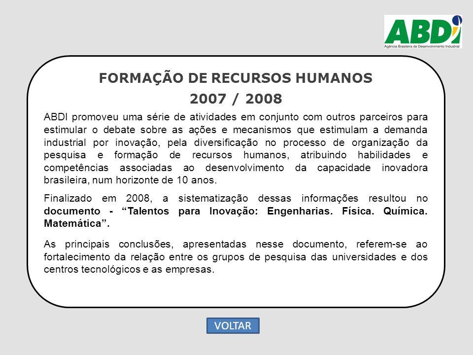 FORMAÇÃO DE RECURSOS HUMANOS 2007 / 2008 ABDI promoveu uma série de atividades em conjunto com outros parceiros para estimular o debate sobre as ações