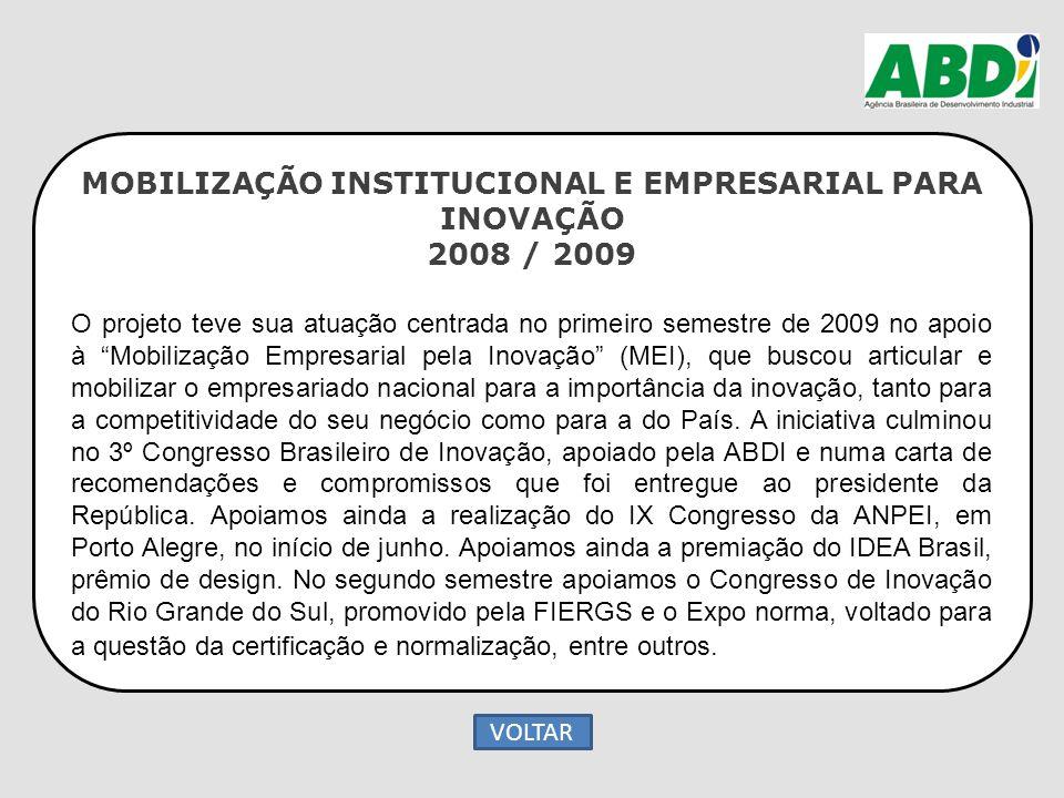 """MOBILIZAÇÃO INSTITUCIONAL E EMPRESARIAL PARA INOVAÇÃO 2008 / 2009 O projeto teve sua atuação centrada no primeiro semestre de 2009 no apoio à """"Mobiliz"""