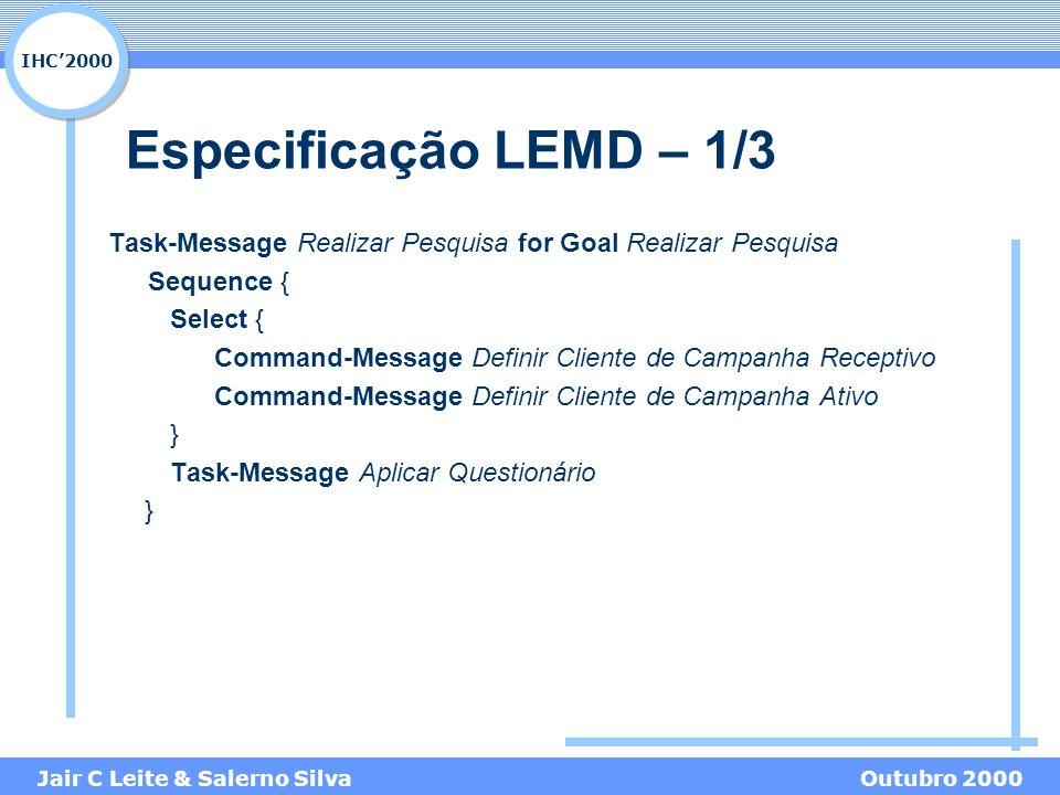 IHC'2000 Jair C Leite & Salerno SilvaOutubro 2000 Especificação LEMD – 1/3 Task-Message Realizar Pesquisa for Goal Realizar Pesquisa Sequence { Select